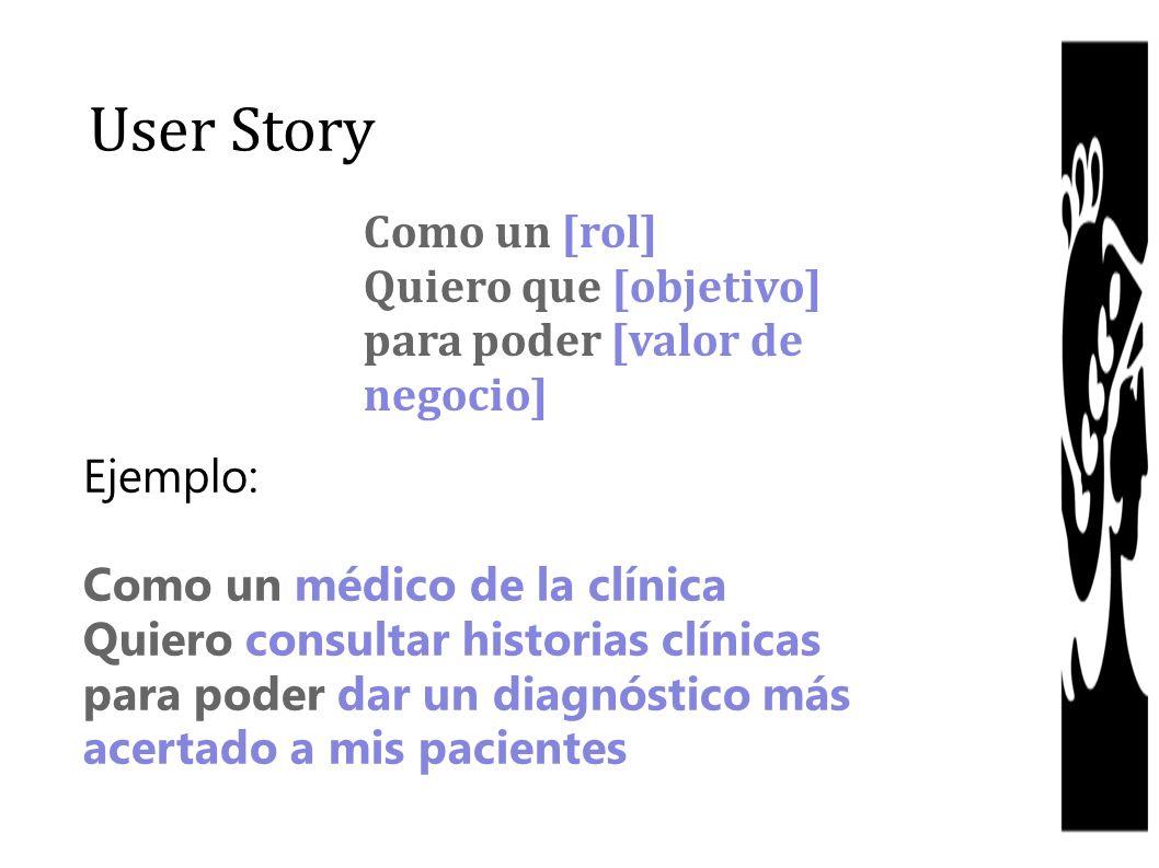 User Story Como un [rol] Quiero que [objetivo]